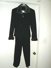 Albert Nipon Suit with Faux Fur Pant Suit Size 6P