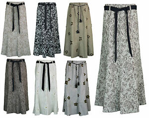 Womens Long Gypsy Maxi Skirts in Linen Designer Ladies Skirt sizes ...