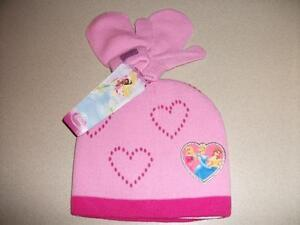 Toddler-Girls-Disney-Princess-Beanie-Hat-Mittens-Set-Cap-Pink-Belle-Cinderella