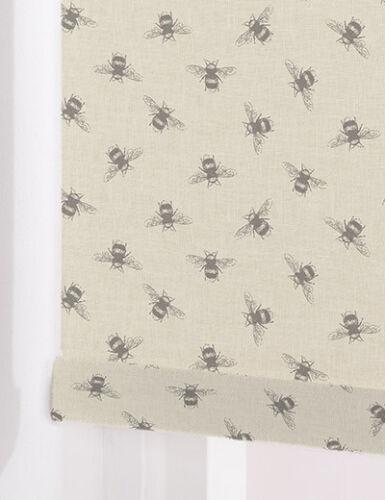 Bees LINEN Made To Measure Patterned Roller Blinds  BLACKOUT or STANDARD