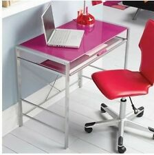 Computer Desk Glass-Top Student Home Office Table Modern Furniture Kids PINK New