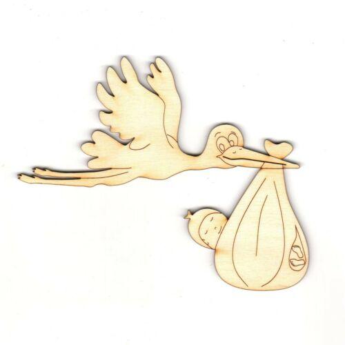 Babyparty Baby zum Karten basteln für Geburt Storch aus Holz 14 cm mit Baby