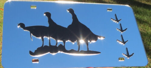 Turkey with Tracks Mirrored Acrylic laser cut license plate Hunting SPIRIT TOTEM
