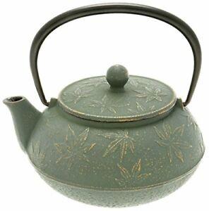 Iwachu-Japanese-Iron-Tetsubin-Teapot-with-034-Bronze-034-Maple-Leaf-Gold-Patina-Green