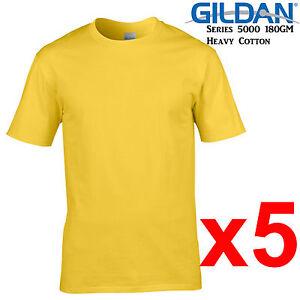 Details about Gildan T-SHIRT Daisy Yellow blank plain tee S M L XL 2XL XXL  Men's Heavy Cotton