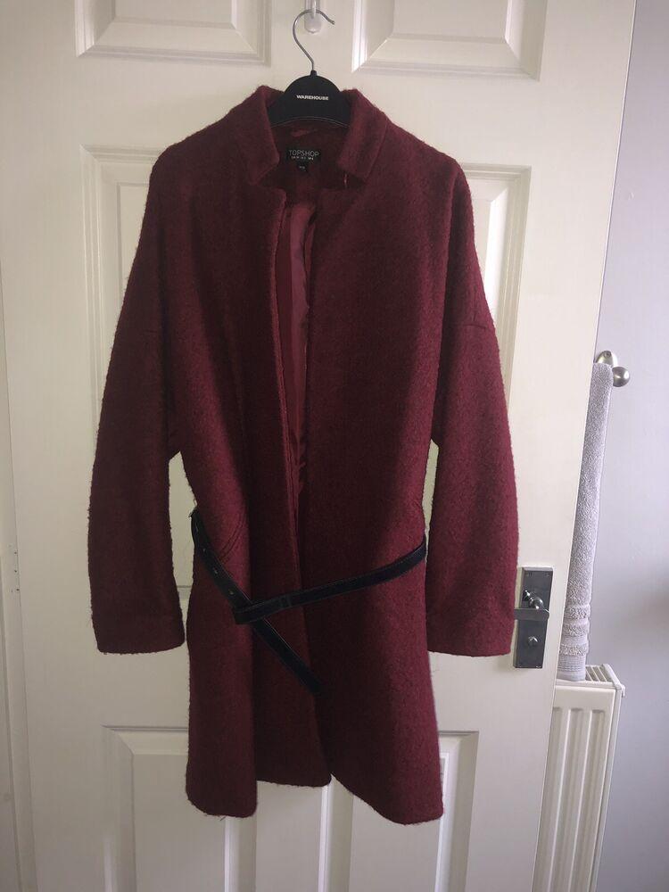 * Nouveau * Topshop Bordeaux Loop Teddy Surdimensionné Souple Manteau Ceinture Noire Uk 6