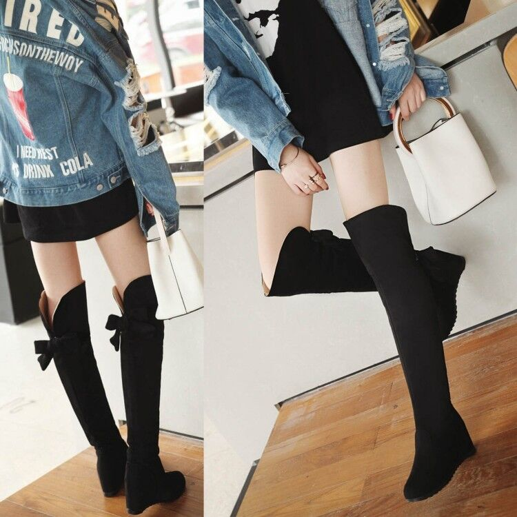Women Hidden Wedge Heels Solid Pull On Over Riding Knee High Boots Suede shoes