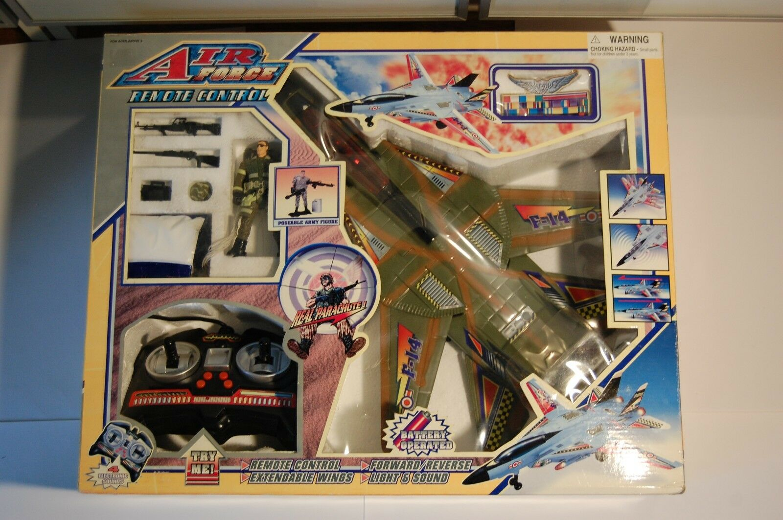RARE REMOTE CONTROL AIRPLANE -AIR FORCE F14-REAL PARACHUTE -90'S