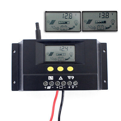 30A 12V/24V LCD Solar Pannel Controller Regulator Charge Battery Safe Protection