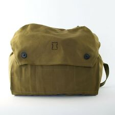Vintage Finnish Army Surplus Olive Green Canvas Military Messenger Shoulder Bag