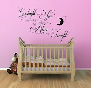 Doux Art Mur Citer Autocollant Personnalisé Bébé Goodnight Lune Kids, Pépinière, Chambre à Coucher-afficher Le Titre D'origine