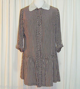 BNWT-SASS-amp-BIDE-POLKA-DOT-SILK-SHIRT-DRESS-42-6-AUS-12-034-MY-HEART-IS-FULL-034