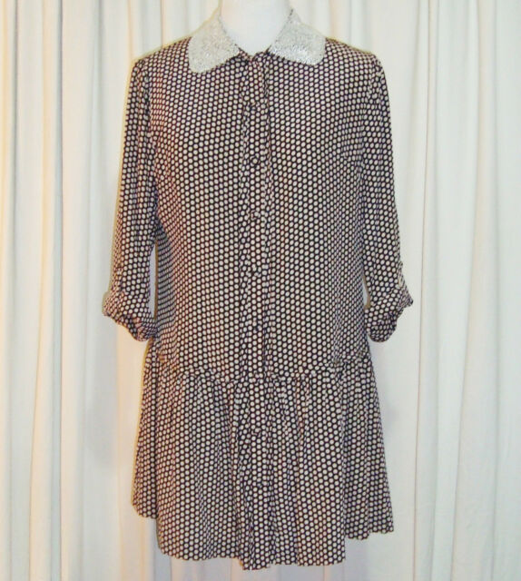 BNWT:SASS&BIDE POLKA DOT SILK SHIRT DRESS 42/6 (AUS 12)