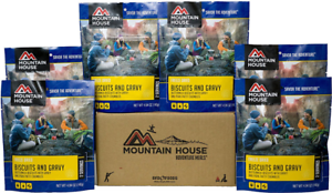 6 - Mountain House Freeze Dried Food Pouches - Biscuits and Gravy