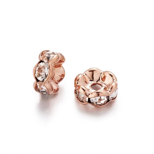 20pcs Brass Crystal Rhinestone Loose Bead Rondelle Bracelet Spacer Wavy Edge 6mm