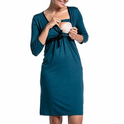 Long Sleeve Pregnant Maternity Casual Party Midi Dress Nursing Top Tunic UK Size