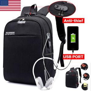 Anti-thief-Backpack-Mens-Canvas-Laptop-Bag-USB-Charging-Port-Travel-Satchel-Bag