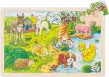 Holzpuzzle Einlegepuzzle Tierkinder  Puzzle 24 Teile Goki 57890 neu Sperrholz