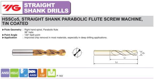 5pcs Letter /'T/' Cobalt Screw Machine Parabolic Flute TiN Gold-P Drills YG1