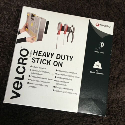 VELCRO® Brand Heavy Duty Stick On Tape in WHITE Hook /& Loop 50mm 50cm-5m