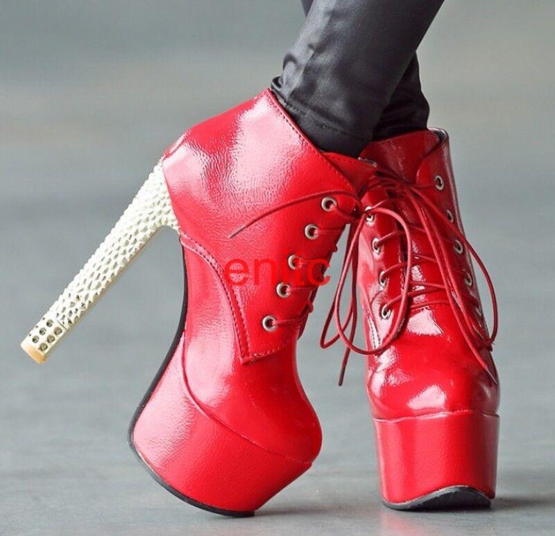 Women's Round Toe Super High Heels Punk Ankle Boots Platform Lace Up shoes M045