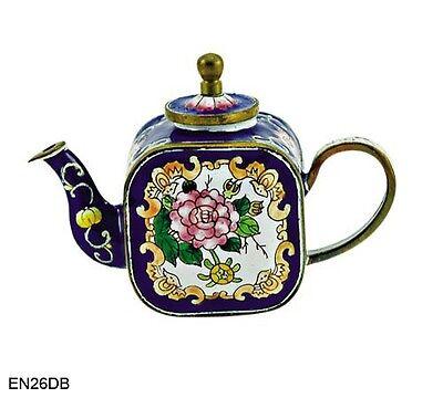 KELVIN CHEN Enamel Copper Hand paint  Miniature Teapot Sapphire Blossom Flower