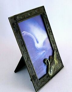 Copper-Metal-Picture-Frame-Swan-Bird-and-Floral-Design-Collectable-Curio-3D