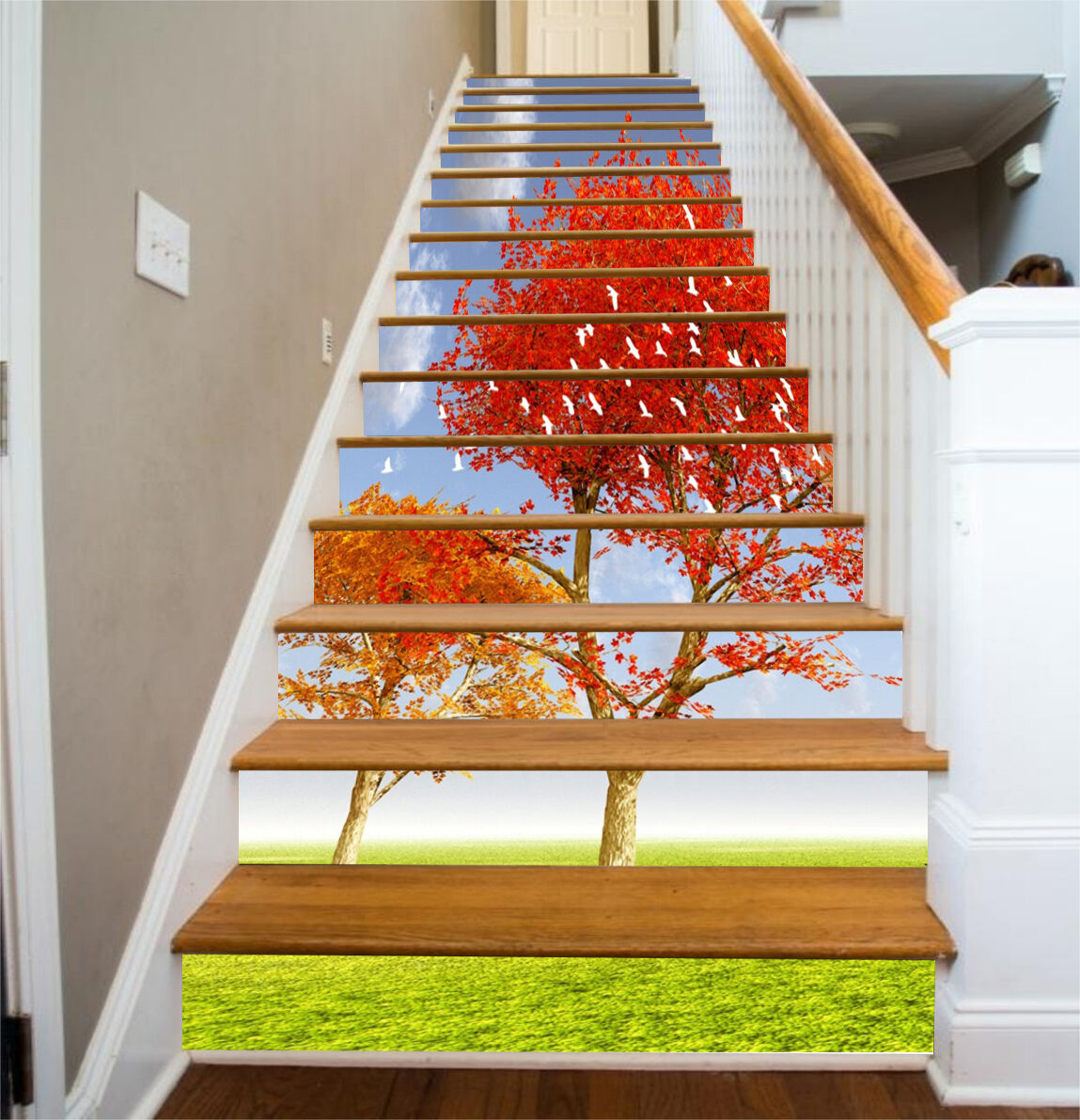 3D rouge tree grass Stair Risers Decoration Photo Mural Vinyl Decal Wallpaper AU