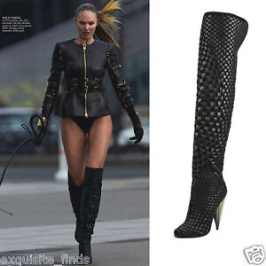 32a54b76 New TOM FORD Black Woven Suede/Leather Over-the-Knee Boot 37.5 - 7.5 ...