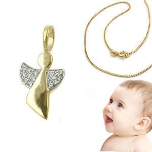 FleißIg Kinder Kommunion Baby Taufe Brillant 0,075 Ct Schutzengel Anhänger Echt Gold 750