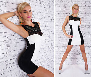 Lace-Mini-Dress-Black-White-Cocktail-Evening-Dress-Party-Lace-Dress-Size-8-10-12