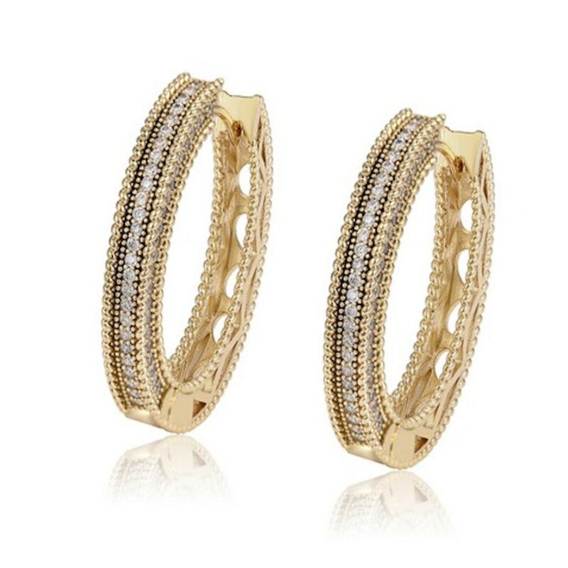 Yellow Gold Filled Clear Cz Cubic Zirconia 30mm Hoop Earrings Uk Seller 62