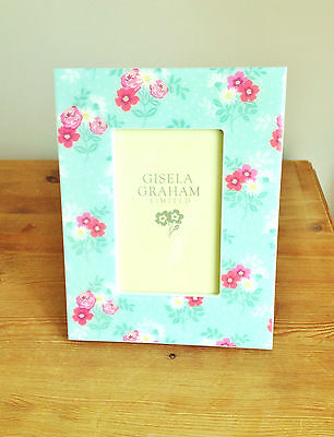 Gisela Graham Blue Glossy Floral Wood Rectangle Photo Frame Picture Frame