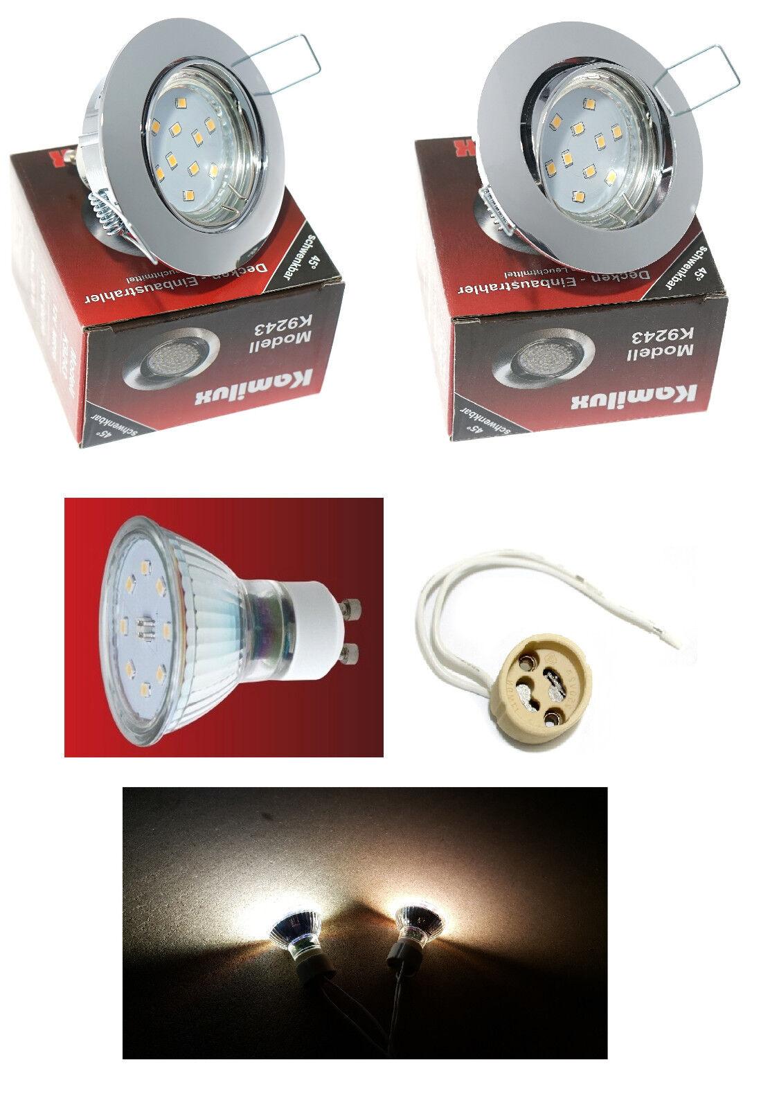 Flureinbaustrahler SMD LED Lisa Chrom Gläntzend 5W = 50W schwenkbar 230V