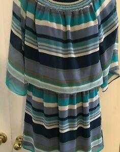 Allen B. Dress with Elastic Waist striped Size 6 Short Sleeves Blue gray