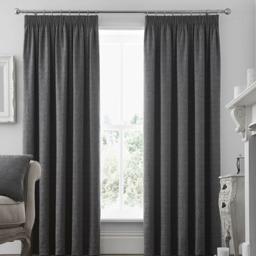 Curtina Ardoise Graphite Grey Damask Pencil Pleat Curtains /& coussins