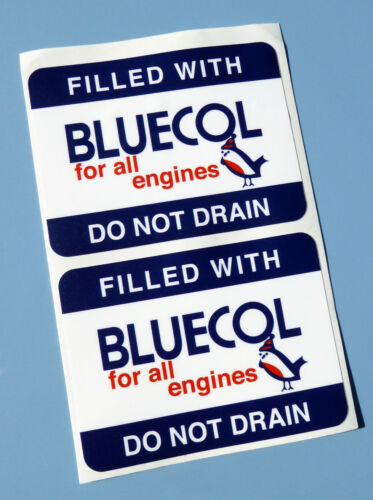 BLUECOL Vintage Style /'Anti Freeze/' radiator fill stickers x2 decals Classic car