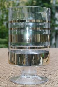 Vintage-Czech-Bohemian-Glass-Vase-Gold-Striped-Bands-Pattern-Mid-Century-Modern