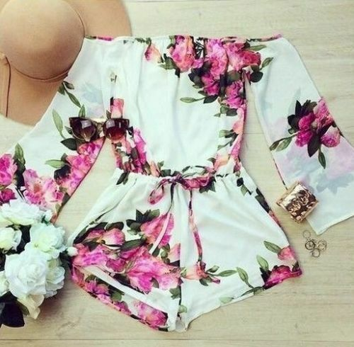 Rompers womens jumpsuit 2015 fashion lady flower floral summer bodysuit woman