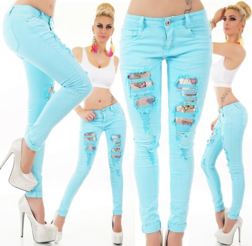 JEANS Pantaloni Jeans A Sigaretta crepe brandelli FARFALLA rete destroyed Turchese XS-XL