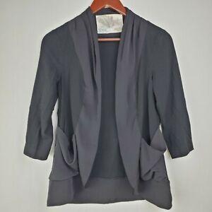 Kimchi Blue Womens Blazer Jacket S Black Open Front Pockets 3/4 Sleeve Rayon UO