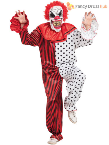 Mens Horror Clown Costume Adult Scary Creepy Circus Halloween Fancy Dress Outfit