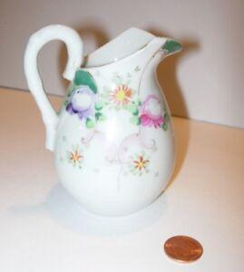 hand-painted-antique-vintage-WHITE-floral-CREAMER-CREAM-PITCHER-table-decor-4-034