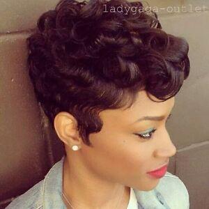 Fashion Women 100% Real Human Hair Wigs Short Wavy Curly Mommy Retro ... e00e66c14
