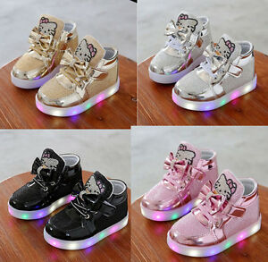 Kid Girl Shoes LED Light Up Luminous Child Baby Infant Toddler Trainers Sneakers