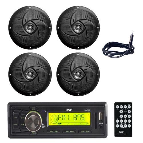 "5.25/"" 180W Slim Style Boat Speakers Antenna 4 Pyle PLMR86B Marine Receiver,"