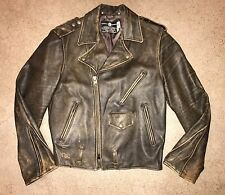 Vtg FIDELITY Brown Leather Biker USA Jacket 40 M Zipper Flight Coat Motorcycle
