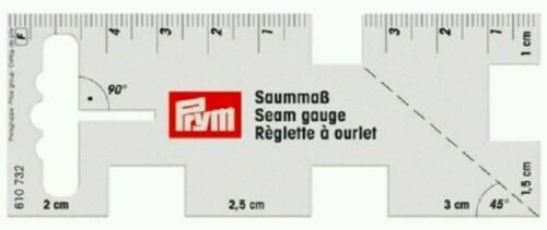 PRYM SEAM GAUGE FLEXIBLE RULER TO WORK WITH SEWING MACHINE Size 4cm x 10cm