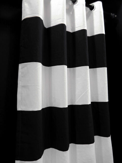 CA152-132 White Black Stripe Cotton Canvas Curtain x 1 Panel (Custom made)