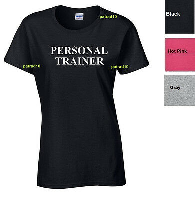 Adult Sizes  T-Shirt Personal Trainer Fitness exercise Gym Workout Women SZ S-XL